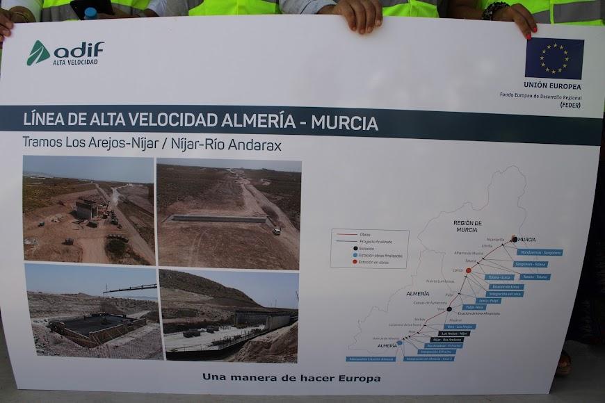 Mapa de las obras de la infraestructura ferroviaria del AVE en la provincia de Almería.