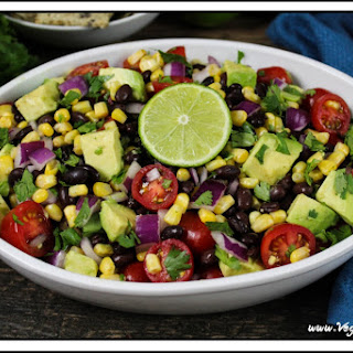 Avocado, Black Bean & Corn Salad W/ Cilantro-Lime Dressing