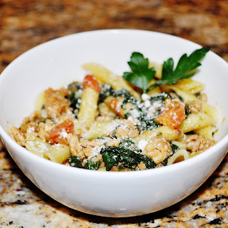 Penne With Arugula Pesto, Sausage, Mushrooms And Spinach