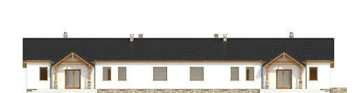 Siewka z garażem 1-st. bliźniak A-BL2 na paliwo stałe - Elewacja tylna