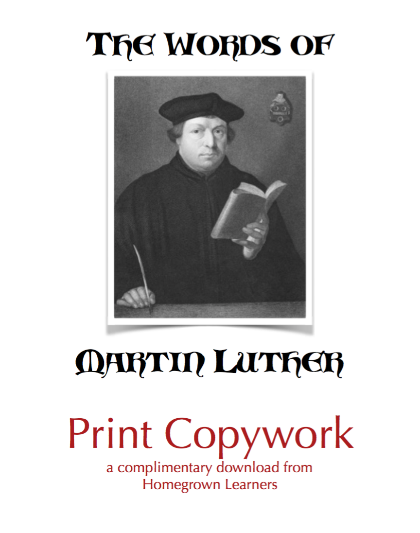 Copywork Download - Print Words of Martin Luther