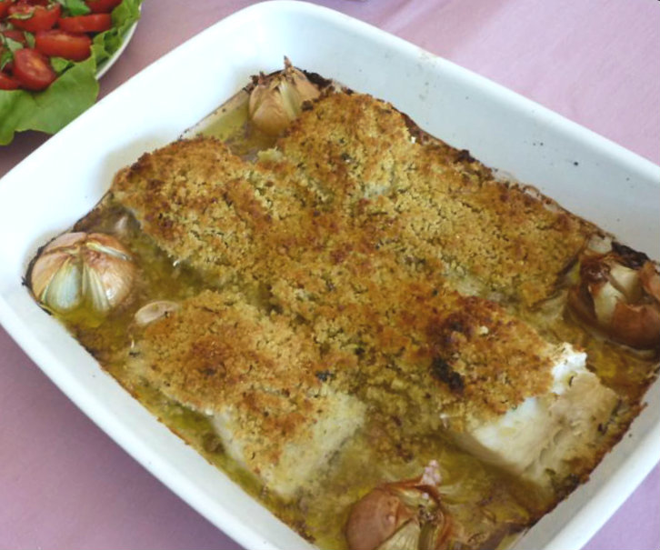 Codfish with Cornbread and Roasted Onions