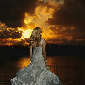 Sunset by Victor Vertsner - Wedding Bride ( wedding, dress, sunset, sea, bride )
