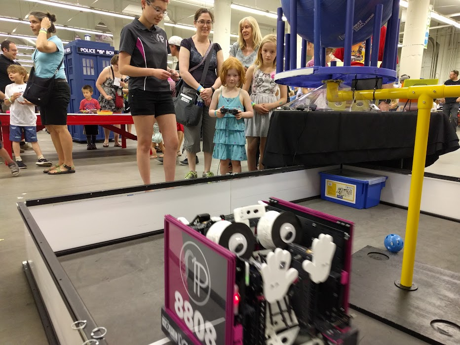 Kids driving the robot