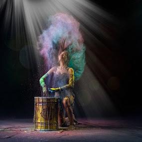 The Drummer Queen by Miko Adji - Digital Art People ( indoor, texture, woman, drummer, fine art, drum, conceptual )