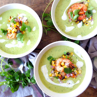 Chilled Avocado Soup with Spicy Grilled Shrimp & Charred Jalapeno-Corn Salsa