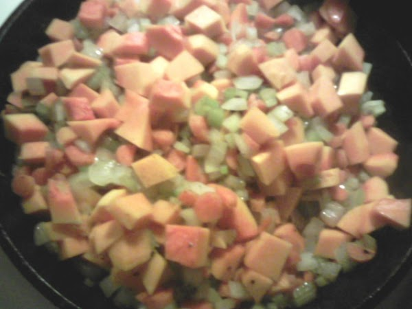 In a medium skillet, add the vegetables to the oil, simmer for 10 min,...