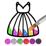 Glitter dress coloring and drawing book for Kids 4.1