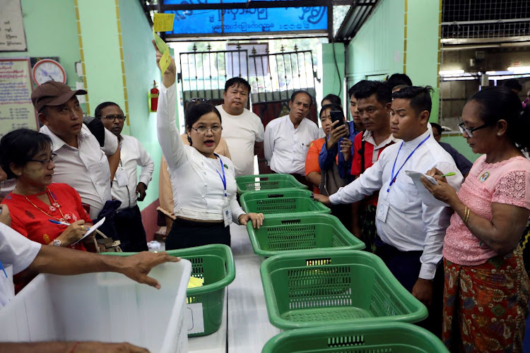 Union election commission staff count the votes at a polling station during the by-election in Yangon, Myanmar, on November 3 2018. Picture: REUTERS/ANN WANG