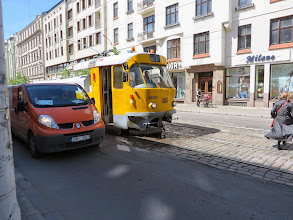 Photo: That tram is washing the tracks