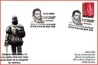 Photo: Matasellos de la Exfiaviles del 1999, homenajeando 425 aniversario de Pedro Menéndez de Avilés