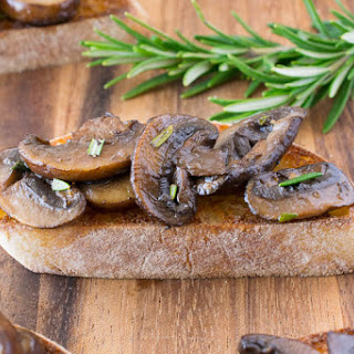 Sautéed Mushroom And Rosemary Bruschetta