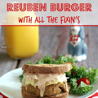Tempeh Reuben Burgers with all the Fixin's.