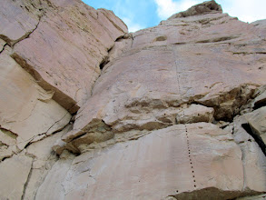 Photo: Drill holes in a cliff
