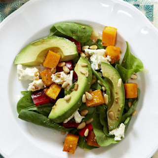 Roasted Squash, Spinach and Feta Salad.