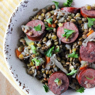 Braised Lentils with Kielbasa