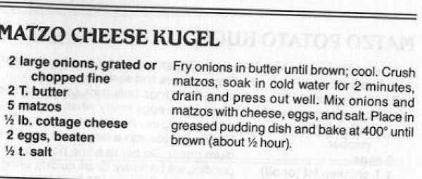 Matzo Cheese Kugel Recipe