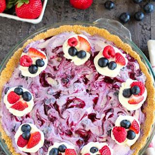 Berry Ice Cream Pie with Graham Cracker Crust.