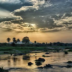 SUBARNAREKHA AT DUSK by Arijit Banerjee - Landscapes Waterscapes ( water, riverside, waterscape, sunsets, sunset, landscape, evening, river,  )