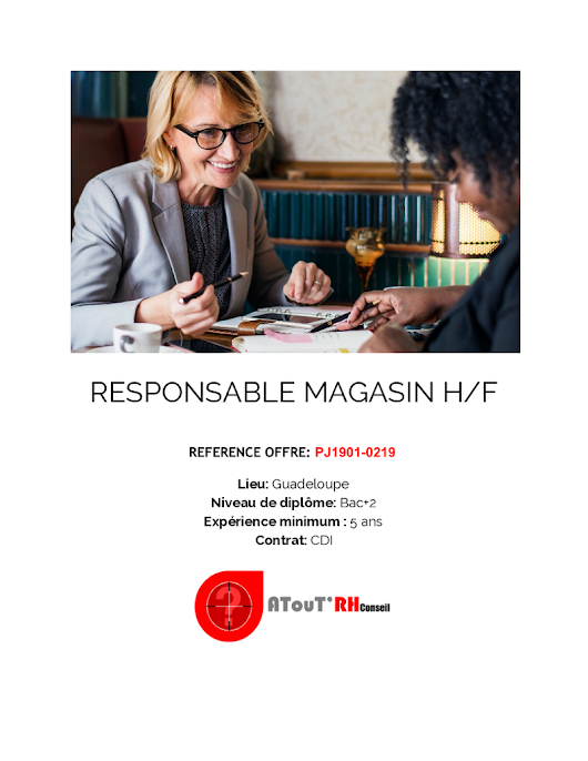 RESPONSABLE MAGASIN H/F - PJ1901-0219