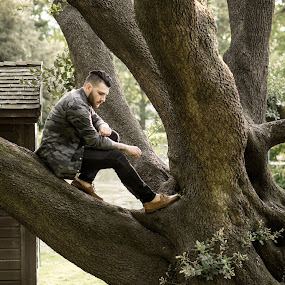 Luke in a Tree by Rob James - People Portraits of Men ( model, fashion, park, tree, location, male, public )