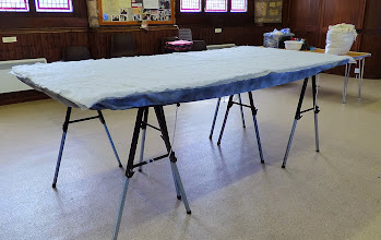Photo: felting table set up at standing height ready to start work on day 2