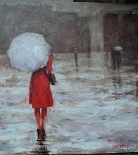Photo: Ольга Самар, Lady in red 2, 80х80, масло, холст, мастихин,