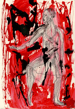 """Photo: Dancer -1st wash of inks, 21cm x 29cm, 8"""" x 11.5"""", 2012, graphite, India and acrylic inks, Moleskine folio Sketchbook A4."""