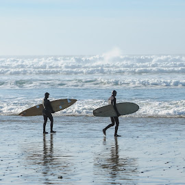 Meet The Day by Tanya Greene - Sports & Fitness Surfing ( canada, waves, pacific ocean, sea, pacific, ocean, west coast, surfers, coast, two, surfer, surf board, rolling waves, surf, pacific northwest )