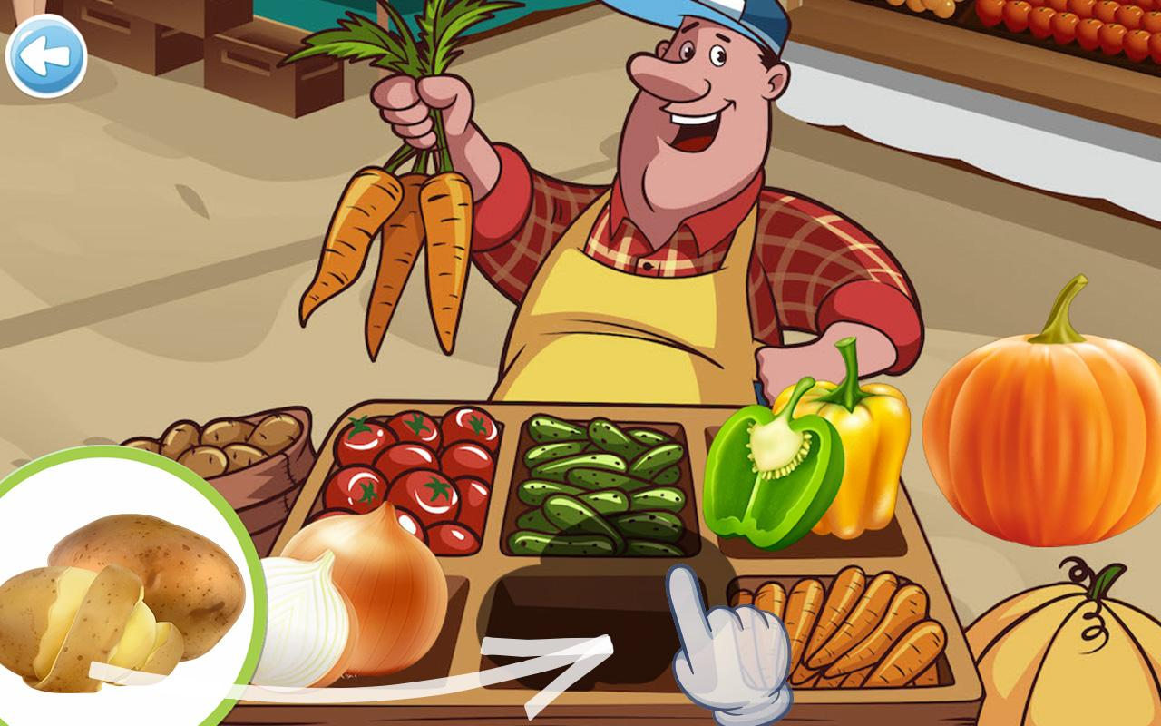 Food puzzle for kids 🥕🍅🍍🍉🎂🍭🍪🧀- screenshot