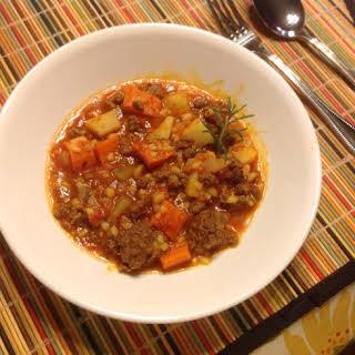 Pressure Cooker Beef Barley Stew.