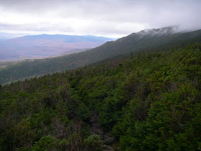 Photo: Mount Jefferson's Ridge of the Caps coming out of the clouds. On the horizon are the Pilot and Pliny Ranges where we had been the day before.