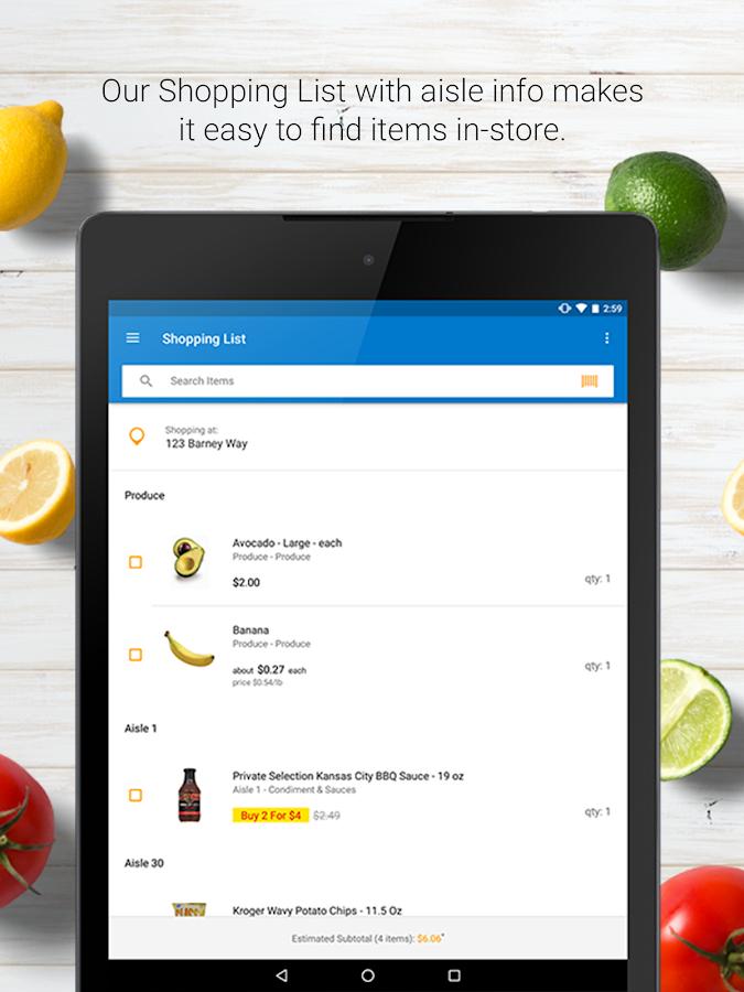 grocery list price estimator online