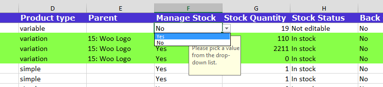 Dropdown in excel file