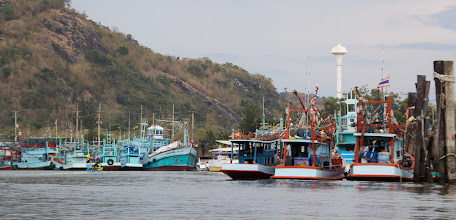 Photo: Pak Nam Pram, the fishing village at the estuary of the Pranburi river, a fishing port known throughout Thailand for its colorful fishing boats and squid specialties
