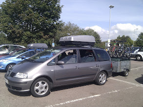 Photo: 2011 - big car, roof box, trailer, bikes, and 3 kids!