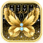 Golden Luxury Butterfly Diamond Keyboard Icon