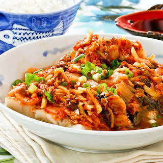 Steamed Cod with Kimchi.