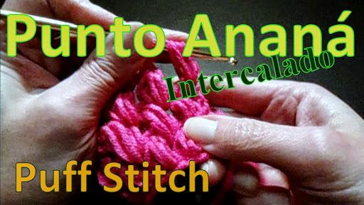 punto ananá o puff stitch intercalado tejido al crochet ganchillo para zurdos