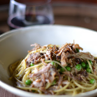 Spaghetti Carbonara with Pork Belly and fresh Peas