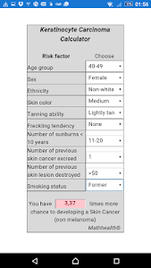 Skin Cancer Calculator screenshot 0