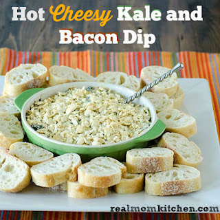 Hot Cheesy Kale and Bacon Dip.
