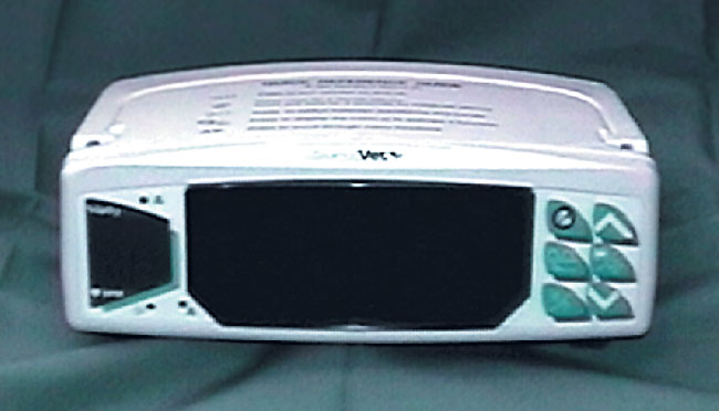 Several manufacturers offer combination anesthesia monitoring equipment such as this pulse oximeter and ECG instrument