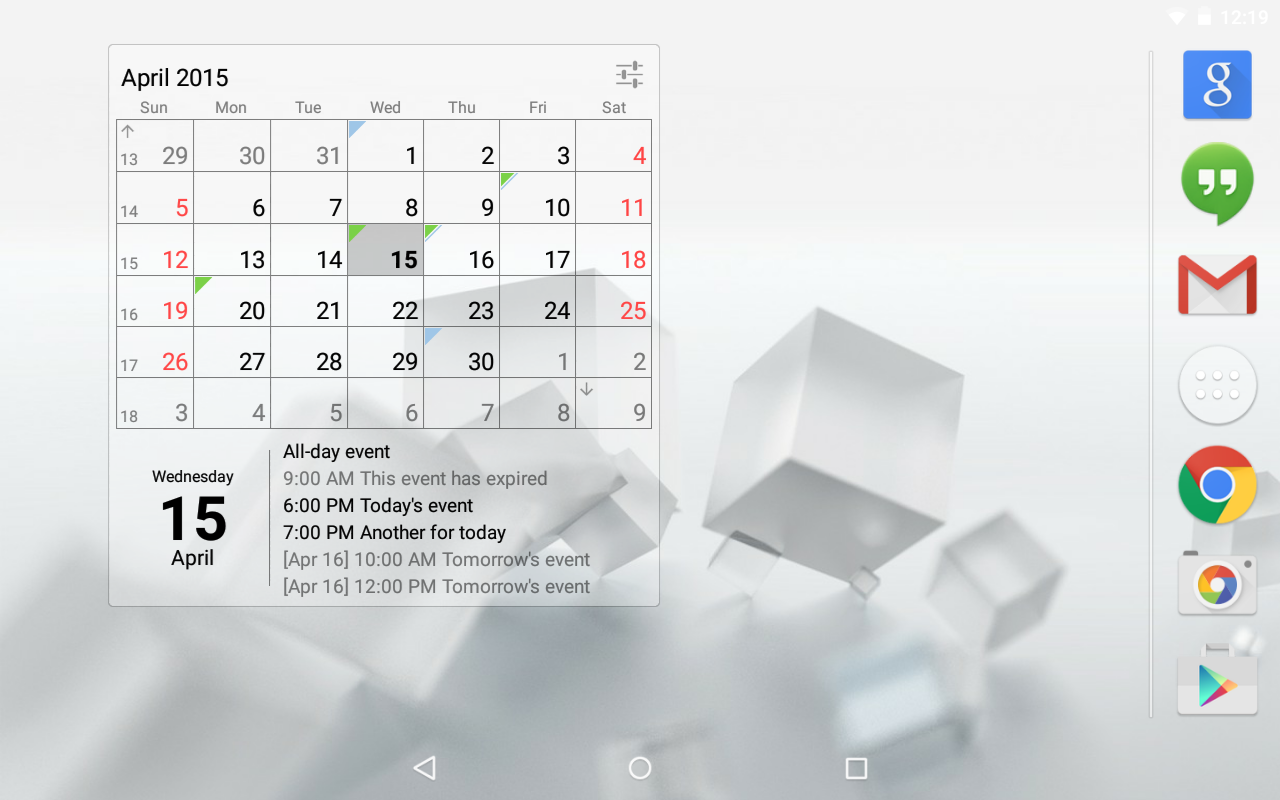 Calendar Widget (key)- screenshot