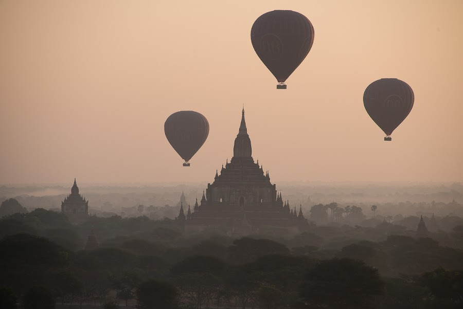 Balloons over Bagan by Tin Htoo Khaing - Buildings & Architecture Public & Historical ( myanmar, pagoda, bagan, balloons )
