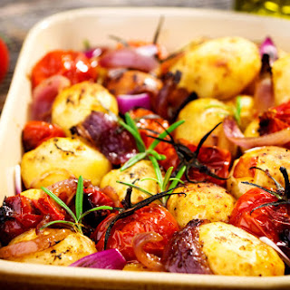 Rosemary Potato Bake with Onions and Tomatoes.