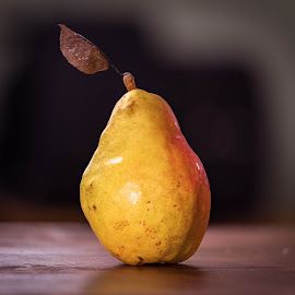 Pear with Leaf by Chad Roberts - Food & Drink Fruits & Vegetables ( red, pear, fruit, yellow, leaf, delicious,  )