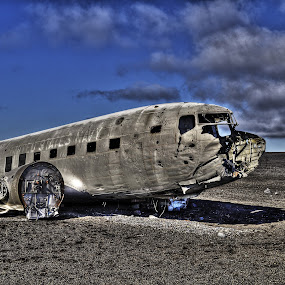 Wreckage on an Icelandic Beach by Steve Corcoran - Transportation Airplanes ( c-47 sky train, sky train, dakota, solheimasandur, aeroplane, airplane, beach, douglas dc3 dakota, wreckage, iceland, dc3, 1973, aircraft, c-47, crashed )