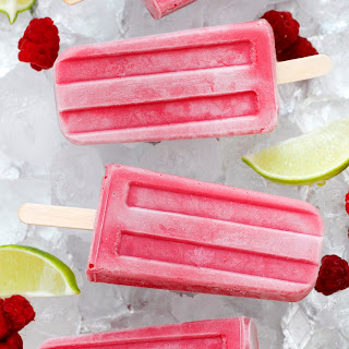 Raspberry, Lime and Yogurt Popsicles.