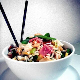 Gebratener Reis mit marinierten Prawns